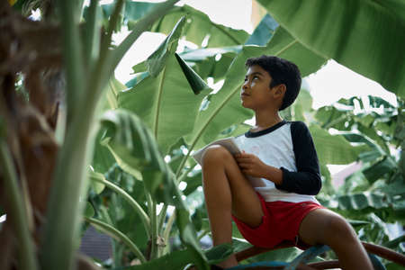 Schoolboy doing his homework while playing under banana tree in the farm Stockfoto