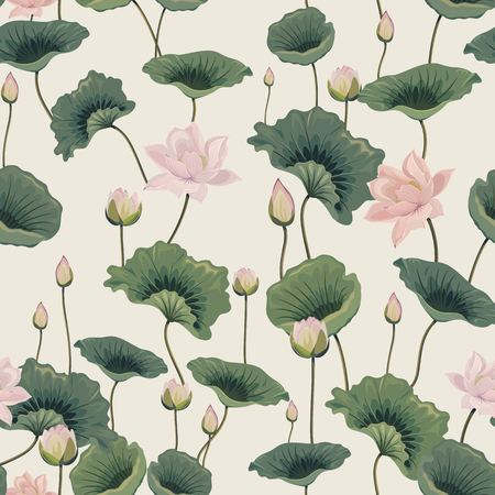 seamless pattern with lotuses