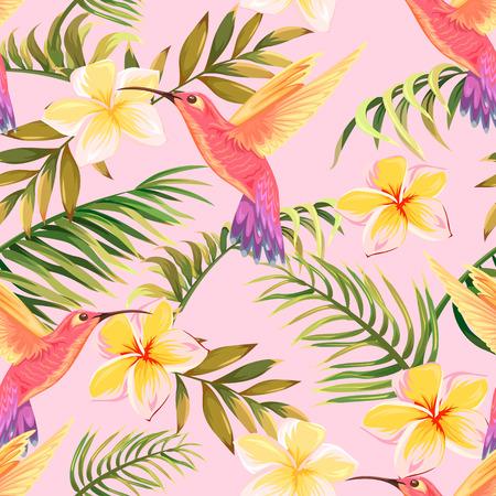 tropische bloemen en kolibries