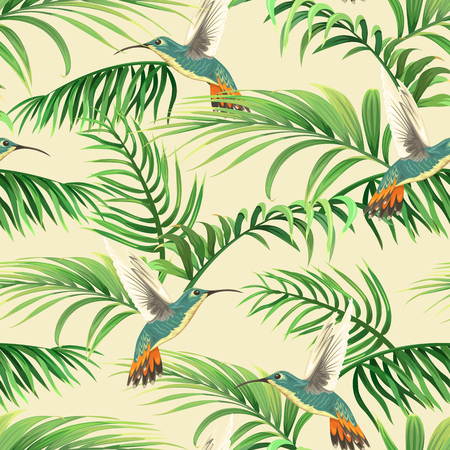 seamless tropical pattern with hummingbirds and palm leaves