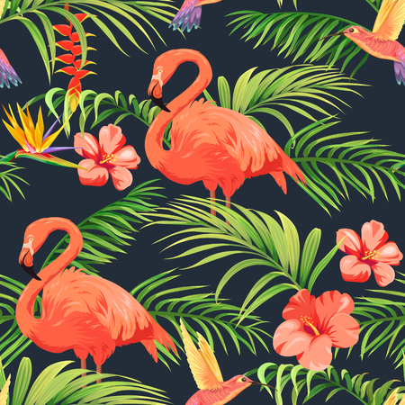 pattern with flamingos, hummingbirds and tropical plants
