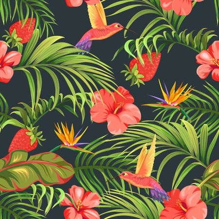 flores tropicales y colibríes.