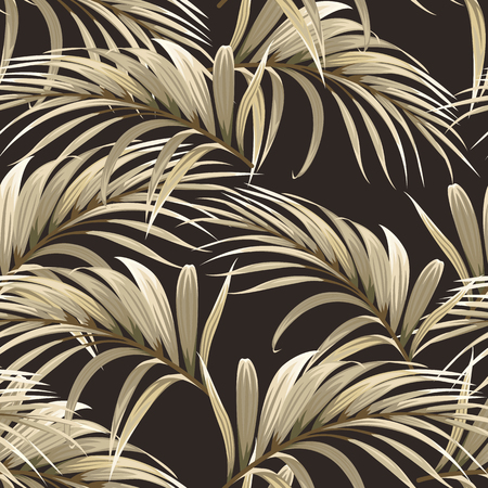 golden background with palm leaves Illustration
