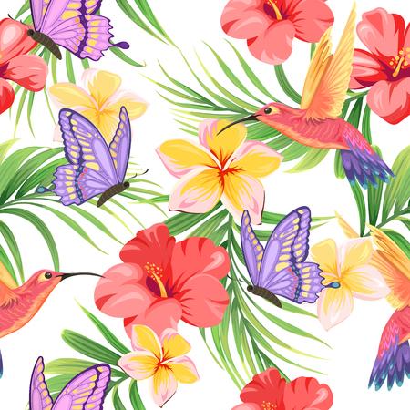 hummingbirds and tropical plants Illustration