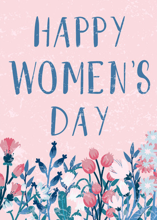Happy women's day. Card with flower decoration