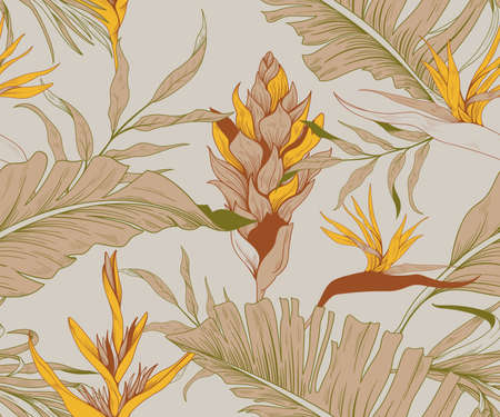 Seamless pattern with trendy exotic flowers and leaves Ilustração