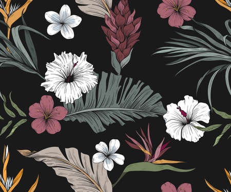 Colorful seamless pattern with exotic flowers and leaves. Dark background Ilustração