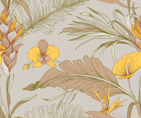 Seamless pattern with exotic flowers and leaves of tropical plants