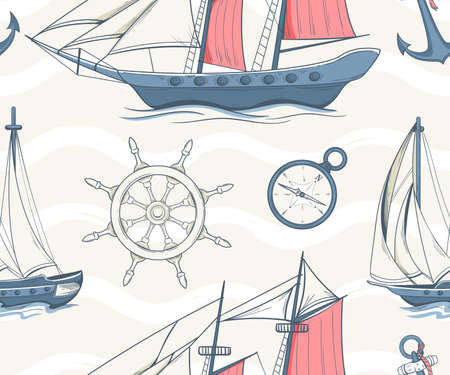 Seamless pattern with sailing yachts and nautical equipment