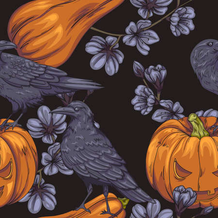 seamless pattern with crows, halloween pumpkins and dark flowers