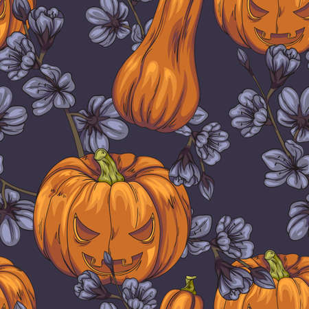 Seamless pattern with Halloween pumpkins and dark flowers Vetores