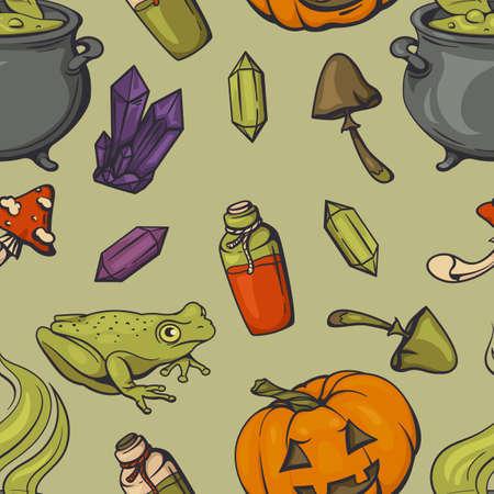 Seamless halloween pattern with magic paraphernalia