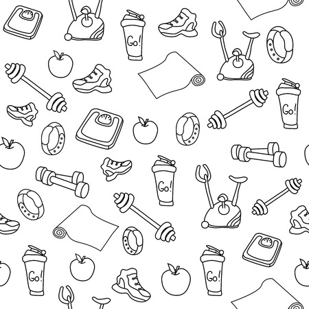 Hand drawn fitness equipment doodles. Gym seamless pattern on white background.