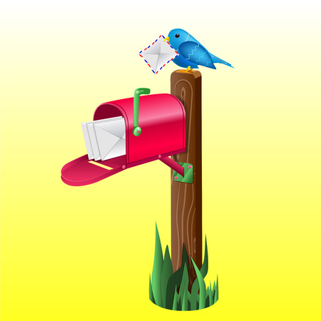 Outdoor red mailbox full of letters. Wooden pole, green grass and blue little bird holding an envelope. Illustration