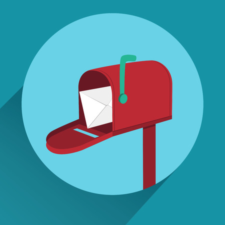 Flat red mailbox with long shadow. Mobile app icon or design element.