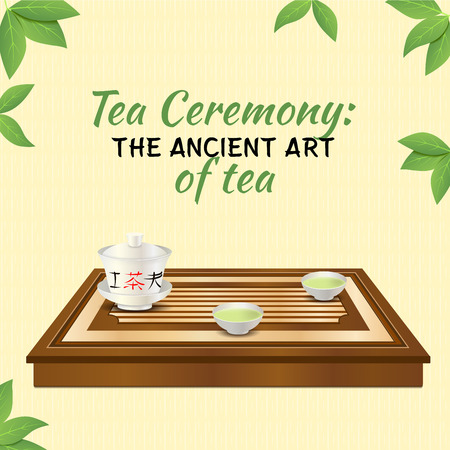 oolong: Tea ceremony. Wooden tea tray, gaiwan and two chinese porcelain cups with green tea. Tea ceremony: the ancient art of tea.