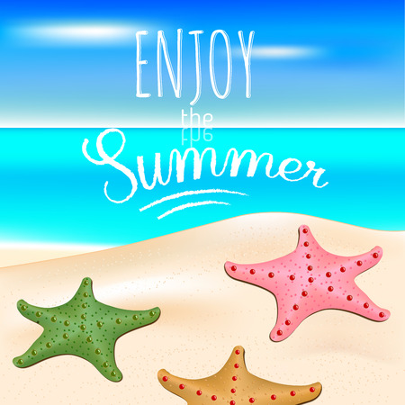Tropical sea and a sandy beach with starfishes. Summer holidays. Text Enjoy the summer.