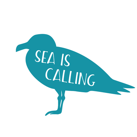 Flat illustration with motivational inscription. Sea is calling.