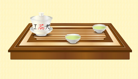 oolong: Tea ceremony. Carved wooden tea tray, gaiwan and two chinese traditional porcelain cups with green tea. Tea ceremony.