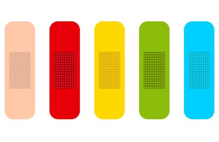 Gekleurde geneeskunde pleisters. Geïsoleerd set met vijf kleuren.