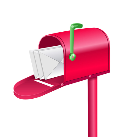 Outdoor red mailbox full of letters.