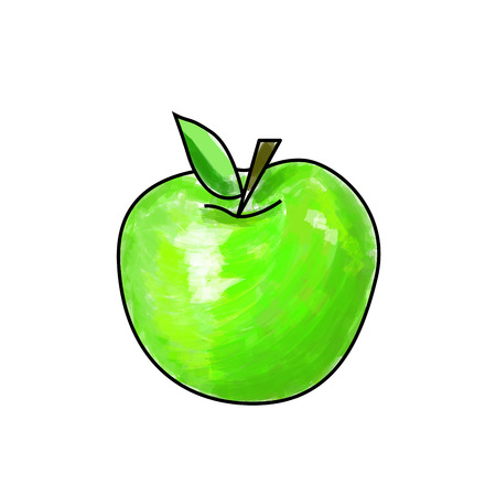 fruitage: Cartoon green apple made with drawing brush.