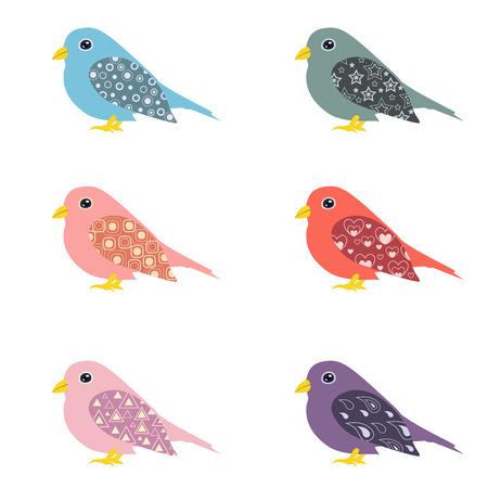 twit: Cute colorful ornamental birds. Isolated set of decorated cartoon birds. Illustration