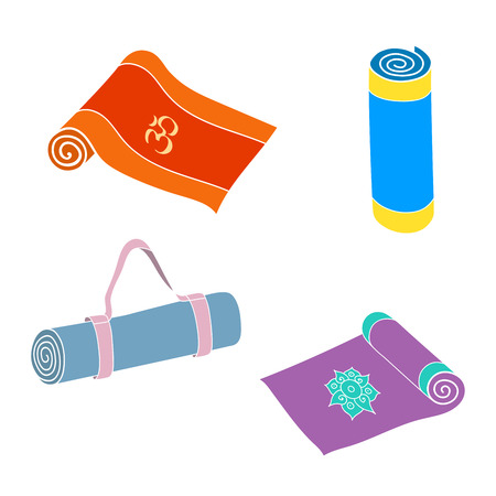 rolled: Cartoon yoga or fitness mats and sacks. Isolated set. Illustration