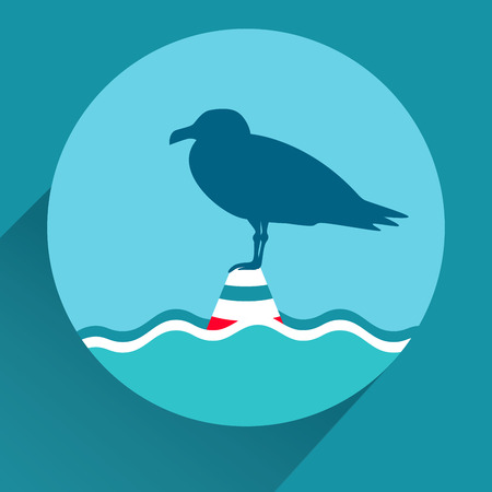 sailling: Seagull on a sea buoy. Blue flat icon for mobile app design. Long shadow.