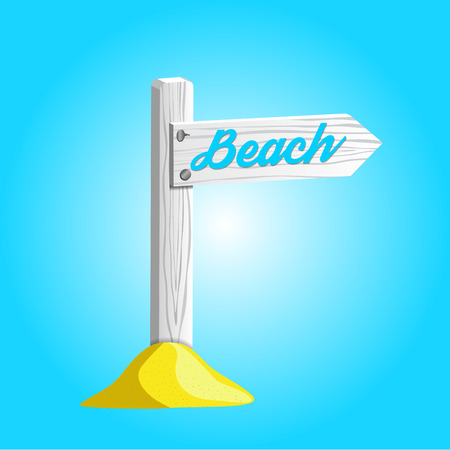 White wooden pole with sign pointing to the beach. Illustration