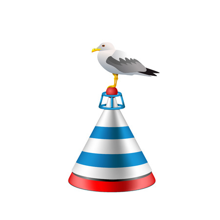 Sea buoy with a seagull on white background. Isolated buoy with blue and red stripes.