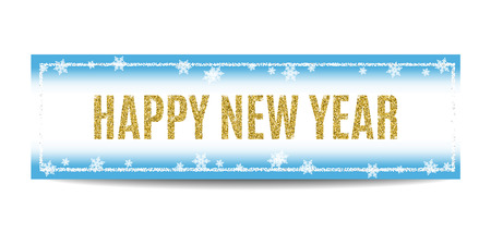 Happy New Year 2017 banner. Blue background with bokeh, snow, fog and snowflakes. Golden text and silver frame. Glitter sequins.