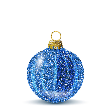 Isolated blue christmas ball. Shiny glitter sequins texture. Realistic decoration for christmas tree or new year.