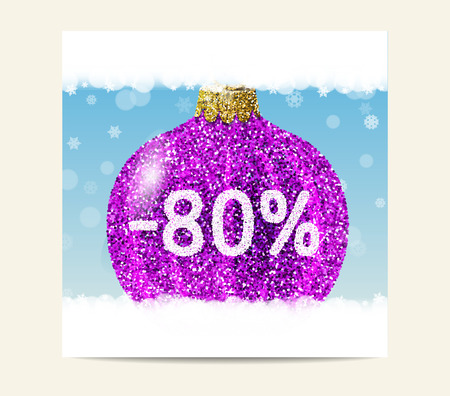 big ball: Purple christmas ball on blue background with snowflakes. Christmas and New Year sale. 80% special offer. Flyer template. Illustration