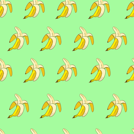 Yellow bananas on green background seamless pattern in pop art style.
