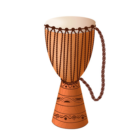 African drum djembe with ornament and ropes.Ethnic musical instrument. Vector EPS10 realistic illustration.