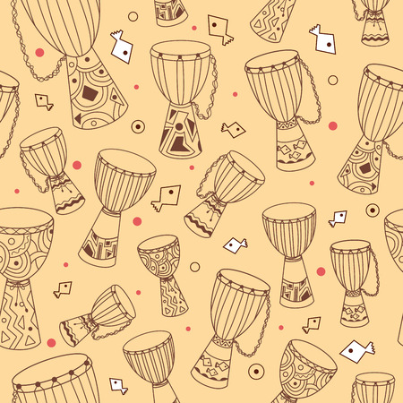 hand jamming: Hand drawn african drums djembe. Ethnic seamless pattern. Vector EPS10 sketchy illustration.