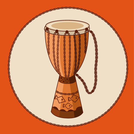 African drum djembe with ornament and ropes. Earthtone colors. Hand drawn ethnic musical instrument. Vector EPS10 cartoon illustration.