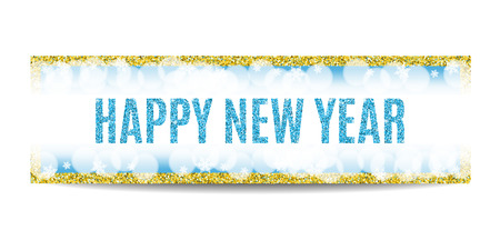 golden frame: Happy New Year 2017 banner. Blue background with bokeh, snow, fog and snowflakes. Golden frame. Glitter sequins. Flyer and coupon design template. Vector EPS10 illustration.