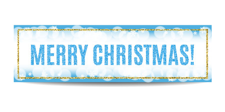 golden frame: Merry Christmas banner. Blue background with bokeh, snow, fog and snowflakes. Golden frame. Glitter sequins. Flyer and coupon design template. Vector EPS10 illustration.