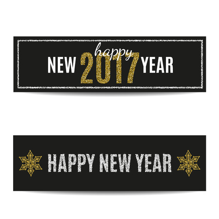 silver frame: Happy New Year 2017 banners set. Black background. Golden and silver text. Golden snowflakes and silver frame. Glitter sequins. Flyer and coupon design template. Vector EPS10 illustration. Illustration