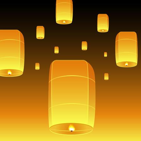 krathong: Loi Krathong realistic illustration. Yi Peng Festival. Fly fire lanterns in night sky. Thai holiday. Vector EPS10.