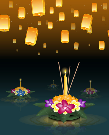 loy: Loy Krathong 2016 greeting card and invitation. Yi Peng Festival. Floating krathongs on the water. Fly fire lanterns in night sky. Thai holiday. Realistic vector EPS10 illustration