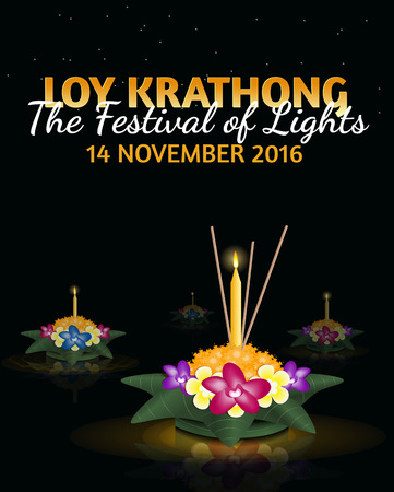 loy: Loy Krathong 2016 greeting card and invitation. Yi Peng Festival. Text The festival of lights. Floating krathongs on the water. Thai holiday. Realistic vector EPS10 illustration Illustration