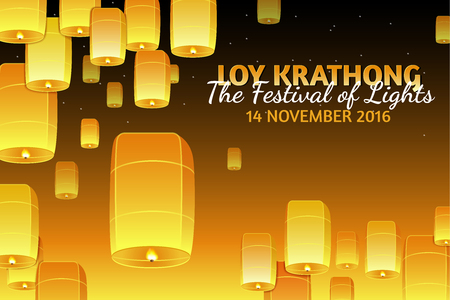 Loy Krathong 2016 greeting card and invitation. Yi Peng Festival. Text The festival of lights. Fly fire lanterns in night sky. Thai holiday. Realistic vector EPS10 illustration Illustration