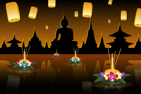 krathong: Loy Krathong 2016 greeting card and invitation. Yi Peng Festival. Floating krathongs on the water. Fly fire lanterns in night sky. Thai holiday. Realistic vector EPS10 illustration