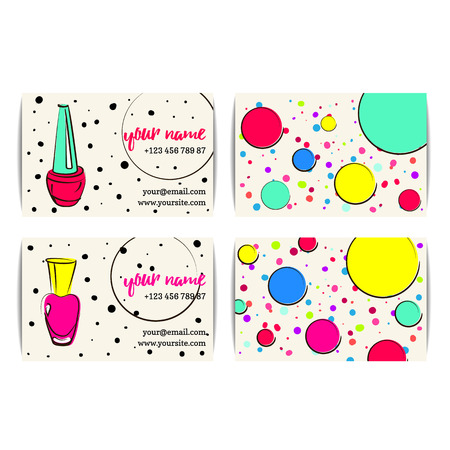 Nail polish business card. Vector set of manicure visit cards. Beauty salon or nail artist design.
