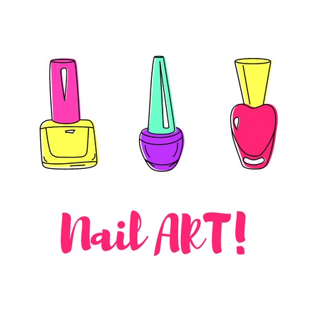 vials: Nail polish colorful vials for beauty salon. Isolated hand drawn set.