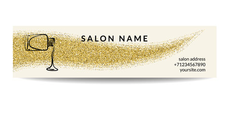 Nail polish banner with golden glitter texture. Manicure design with shiny sparkles.