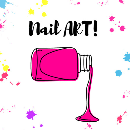 spill: Nail polish spill poster with colorful splashes and text nail art.